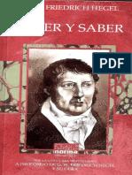 Hegel Creer y Saber