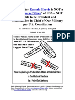 Senator Kamala Harris Not a Natural Born Citizen of USA to Constitutional Standards