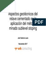 Aspectos geotécnicos del relave cementado en la aplicación del método minado sublevel stoping