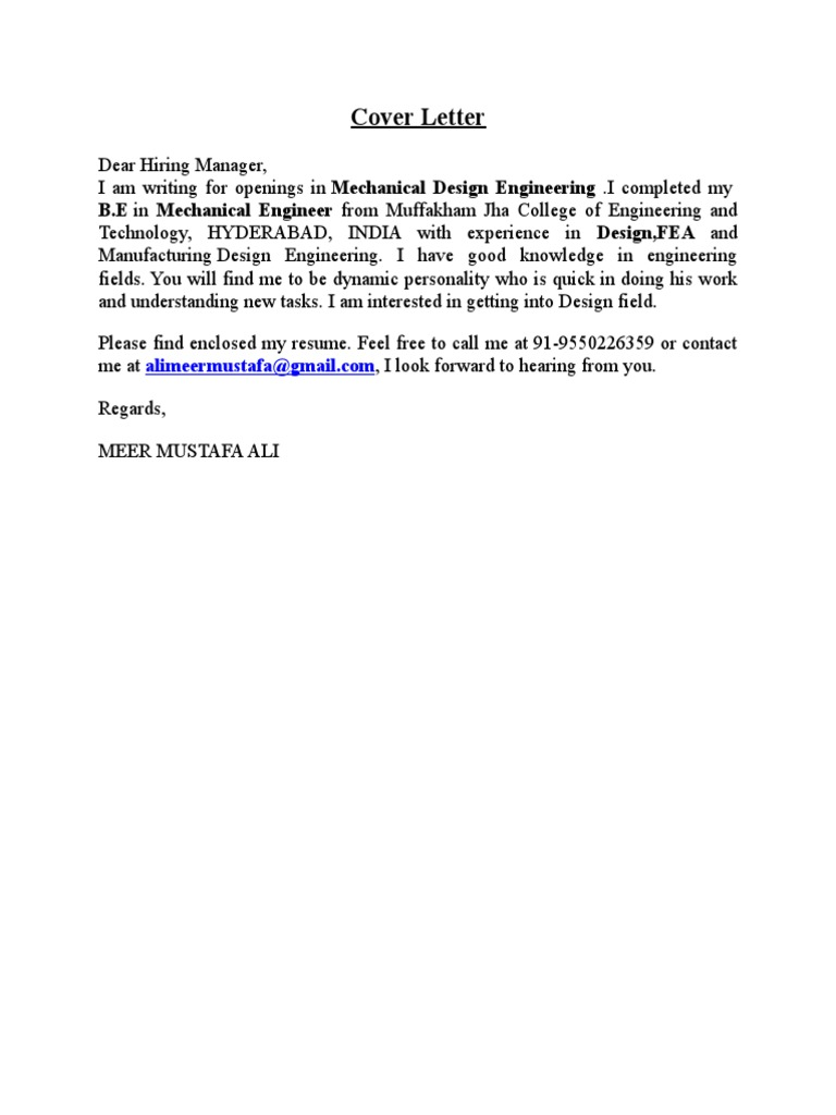 Cover Letter Academia Mechanical Engineering Free 30 Day