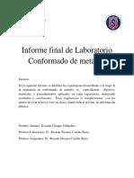Informe Final Conformado de Metales. Gonzalo Choque Villalobos 2semestre 2015