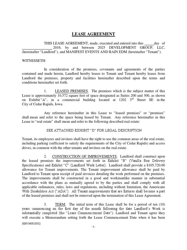 Lease Agreement 2025 Development Lease Leasehold Estate