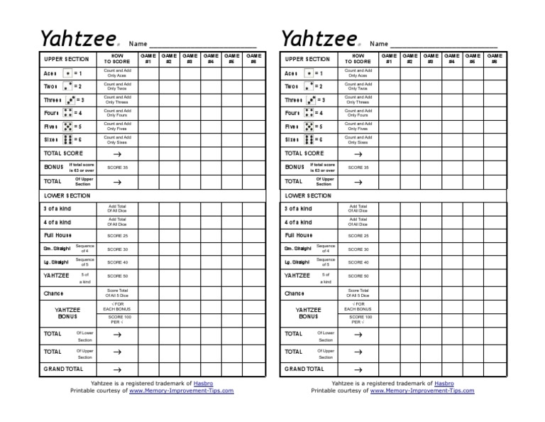 graphic relating to Printable Yahtzee Score Card Pdf referred to as yahtzee-ranking-sheets.pdf Made use of Prospect Movie Game titles