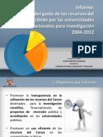 Estado Del Gasto de Los Recursos Del Canon Recibido Por Las Universidades Nacionales Para Investigación 2004-2012