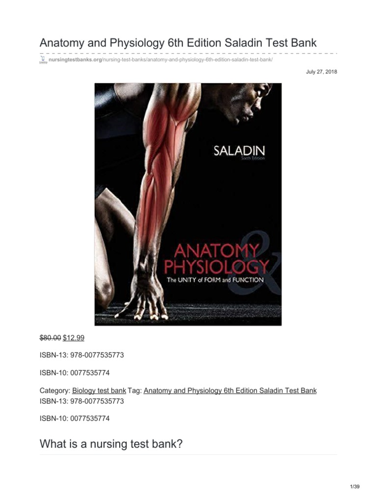 Famous Saladin Anatomy And Physiology 6th Edition Pdf Download ...