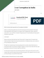 Short Speech on Corruption in India