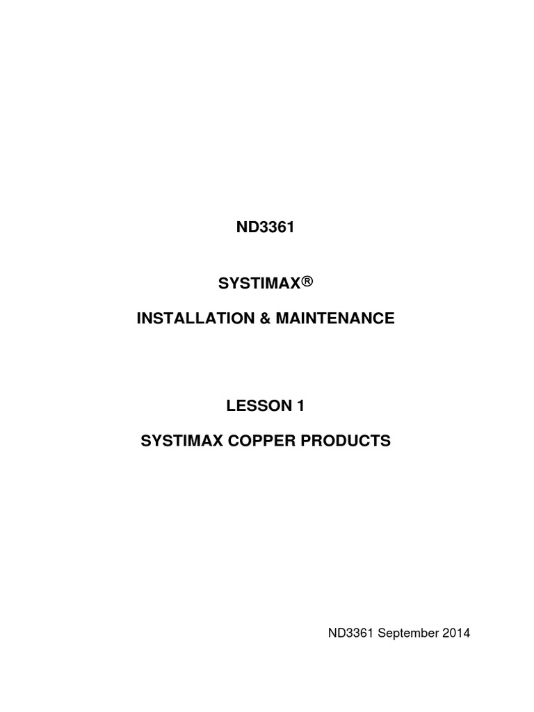 Nd3361 Lesson 01 Products Sep 14 Telecommunications Equipment Systimax Wiring Block Information And Communications Technology