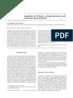 Fatigue Crack Propagation in Nitinol a Shape Memory and Super Elastic En Do Vascular Stent Material