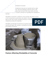 Factors Affecting the Workability of Concrete