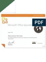 Microsoft Office Specialist Certificate