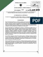 Decreto 958 Del 05 de Junio de 2018