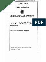Legajo Ley I-0022-2004