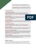 Resumen de Los Próceres de La Independencia Del Perú