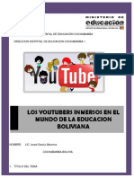 Los Youtubers Inmersos en El Mundo de La Educacion Boliviana