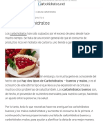 Lista de carbohidratos | Carbohidratos.net