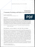 Community Psychology and Politics. J. Rappaport