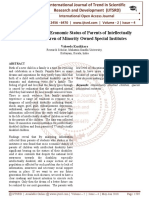 A Study on Socio Economic Status of Parents of Intellectually Disabled Children of Minority Owned Special Institutes