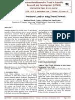 An Approach for Sentiment Analysis using Neural Network