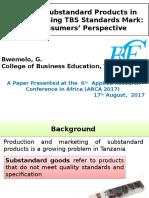 Curbing Substandard Products in Tanzania Using TBS Standards Mark.pot