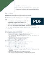 Activity 01; Customer Service Self Assessment