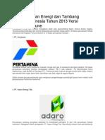 10 Perusahaan Energi dan Tambang Terbaik Indonesia Tahun 2013 Versi Majalah Fortune.docx