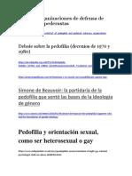 Lista de Organizaciones de Defensa de Pedófilos y Pederastas