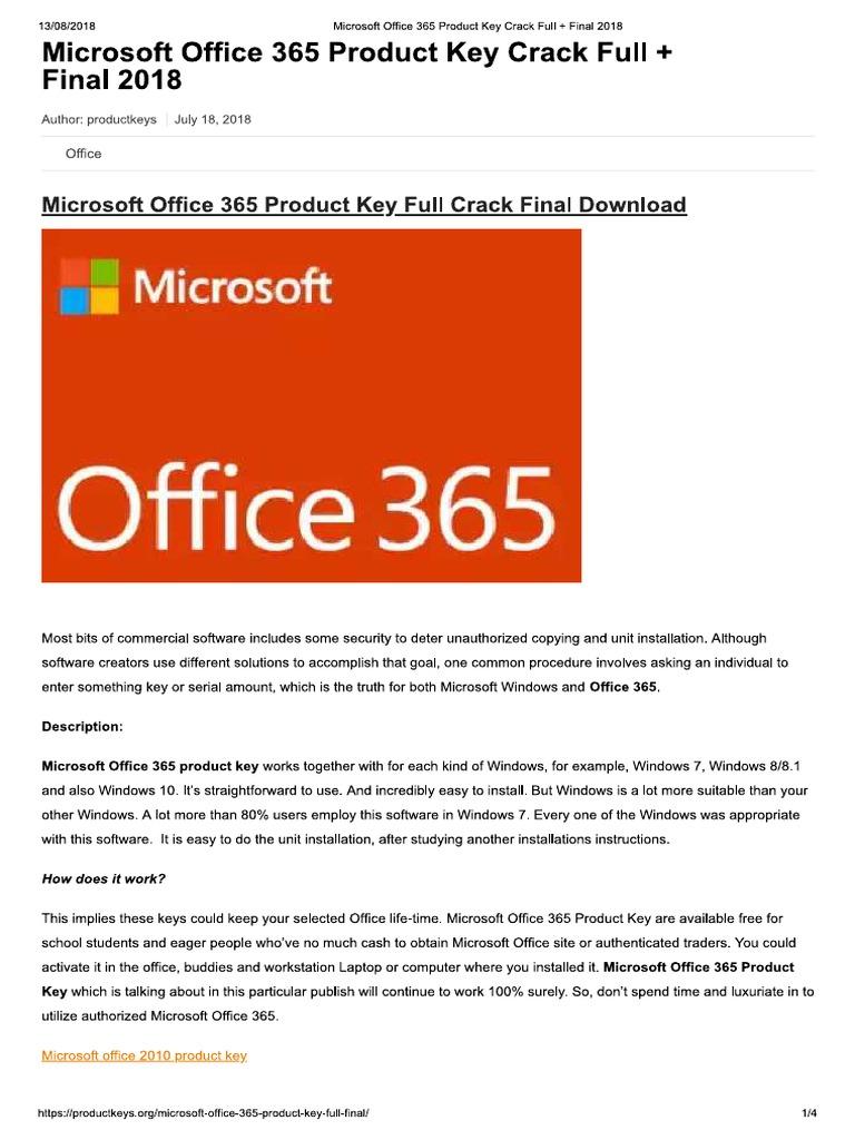 office 365 crack key 2018