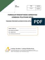 F.01 {Formulir Pendaftaran Akreditasi LPK} Revisi 01
