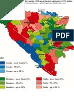 Etnička karta / mapa Bosne i Hercegovine (BiH) po opštinama / općinama iz 1991. godine.