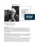 hastings room seamus heaney 2018 flyer