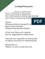 Akoy Isang Pinoy Lyrics