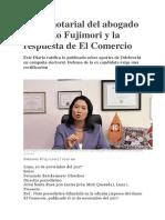 Carta Notarial Del Abogado de Keiko Fujimori y La Respuesta de El Comercio