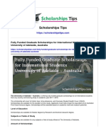 Fully Funded Graduate Scholarships for International Students University of Adelaide Australia