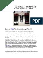Jual Titan Gel Di Ambon 082285956555 Agen Cream Titan Gel Ambon