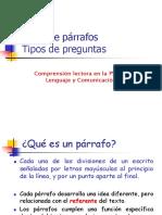 Tipos de Preguntas y Tipos de Párrafos Comprensión Lectora PSU