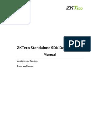 ZKTeco Standalone SDK Development Manual V2 1 a 2-En | Online And