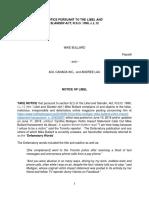Mike Bullard's Notice of Libel to HuffPost