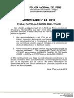 COMUNICADO PNP N° 24 - 2018