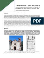 Archeoastronomia e Geometria Sacra Sintesi Delle Ricerche Di Geometria Sacra e Archeoastronomia Effettuate Nell'Abbazia Di Mirasole Milano Nell'Anno 2017 e Nel Primo Semestre Dell'Anno 2018
