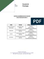 Calendario de Juntas Académicas Colegiadas