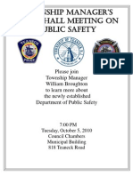 Public Safety Director Town Hall Advertisement