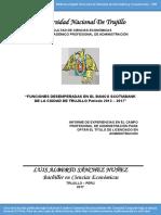 Funciones desempeñadas en el Banco Scotiabank de la ciudad de Trujillo (Período 2013 - 2017)