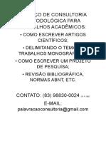 SERVIÇO DE CONSULTORIA METODOLÓGICA PARA TRABALHOS ACADÊMICOS.doc