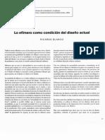 03 - BLANCO, Ricardo - Lo Efímero Como Condición Del Diseño Actual