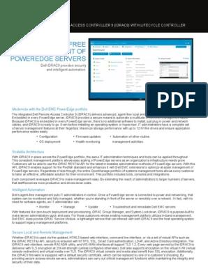 Idrac Spec Sheet | Transport Layer Security | Server (Computing)