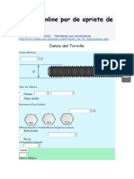 Calculo Online Par de Apriete de Tornillos
