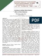 Investors decisions in Indian Stock Market - Effect of Herd Behavior