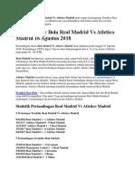 Prediksi Skor Bola Real Madrid Vs Atletico Madrid 16 Agustus 2018