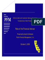 California Debt and Investment Advisory Commission  PFM Fundamentals of Debt Financing  Role of the Financial Advisor