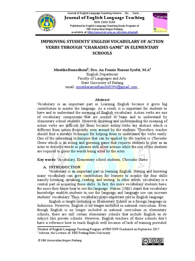 Mustika Ramadhani Journal | Vocabulary | English Language